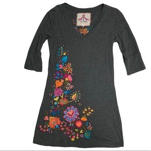 🆕 RARE - Johnny Was Boho Gray Colorful Floral Embroidered Tunic Dress Top JWLA